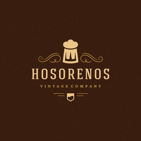 Beer Logo Design Element in Vintage Style for Logotype, Label, Badge and other design. Brewery retro vector illustration.