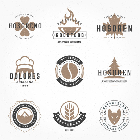 designer labels: Retro Vintage Logotypes or insignias Hand drawn style set. Vector design elements, business signs, logos, identity, labels, badges, apparel, shirts, ribbons, stickers and other branding objects. Illustration