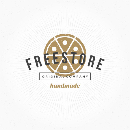 Hand drawn Pizza Restaurant Logo Vintage Style for Logotype, Label, Badge and other design. Vector illustration.