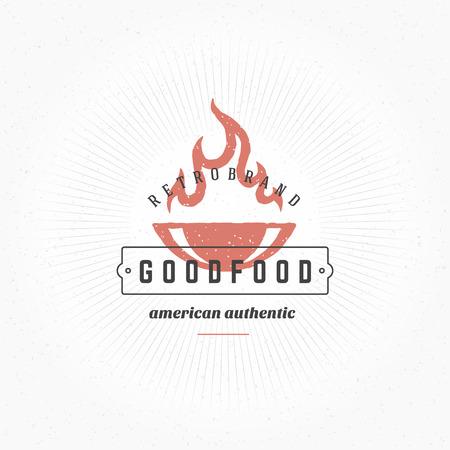 Grill Hand DrawnDesign Element en Vintage Style para Logotype, Label, Badge y otro diseño. Fuego llama retro ilustración vectorial. Foto de archivo - 48325036