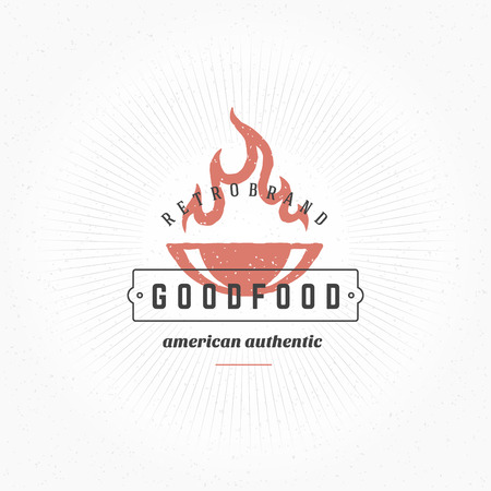 Grill Hand DrawnDesign Element in Vintage Style for Logotype, Label, Badge and other design. Fire flame retro vector illustration.