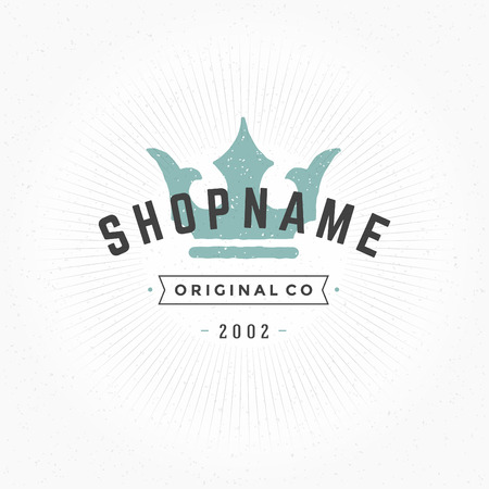 crown logo: Hand drawn King Crown Logo Vintage Style for Logotype, Label, Badge and other design. Vector illustration.