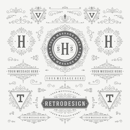 Vintage Vector Adornos Decoraciones elementos de diseño. Florece combinaciones caligráficas retro para las invitaciones, Restaurante Menú, Realeza, tipografía, citas, tarjetas de felicitación, Certificado y otra. Foto de archivo - 48325039