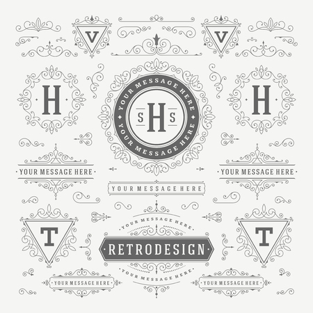 Vintage Vector Ornaments Decorations Design Elements. Flourishes calligraphic combinations retro for Invitations, Restaurant Menu, Royalty, Typography, Quotes, Greeting cards, Certificate and other. Banco de Imagens - 48325039