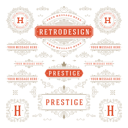combinations: Vintage Vector Ornaments Decorations Design Elements. Flourishes calligraphic combinations retro for Invitations, Restaurant Menu, Royalty, Typography, Quotes, Greeting cards, Certificate and other.