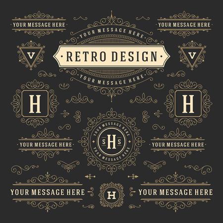 Vintage Vector Adornos Decoraciones elementos de diseño. Florece combinaciones caligráficas retro para las invitaciones, Restaurante Menú, Realeza, tipografía, citas, tarjetas de felicitación, Certificado y otra.