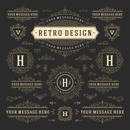 Vintage Vector Ornaments Decorations Design Elements. Flourishes calligraphic combinations retro for Invitations, Restaurant Menu, Royalty, Typography, Quotes, Greeting cards, Certificate and other. Zdjęcie Seryjne - 48325042