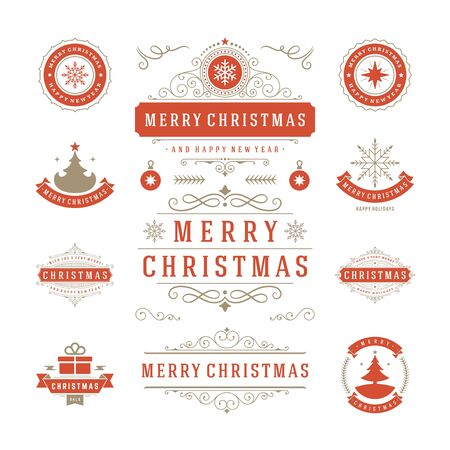 happy new years: Christmas Labels and Badges Vector Design. Decorations elements, Symbols, Icons, Frames, Ornaments and Ribbons, set. Typographic Merry Christmas and Happy Holidays wishes.