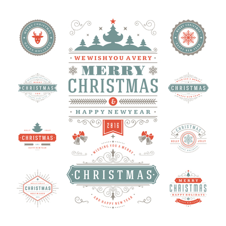 christmas icon: Christmas Labels and Badges Vector Design. Decorations elements, Symbols, Icons, Frames, Ornaments and Ribbons, set. Typographic Merry Christmas and Happy Holidays wishes.