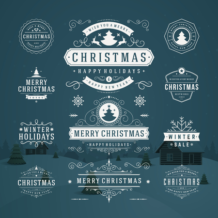 happy holidays text: Christmas Decorations Vector Design Elements. Typographic elements, Symbols, Icons, Vintage Labels, Badges, Frames, Ornaments set. Flourishes calligraphic. Merry Christmas and Happy Holidays wishes.