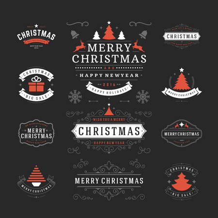 badge: Christmas Labels and Badges Vector Design. Decorations elements, Symbols, Icons, Frames, Ornaments and Ribbons, set. Typographic Merry Christmas and Happy Holidays wishes.