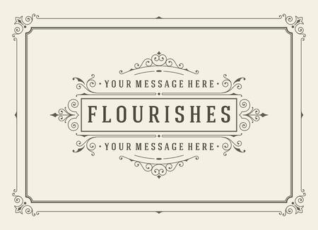 Plantilla de la vendimia vector de la tarjeta del ornamento saludo. Invitaciones de boda retro, publicidad u otro diseño y el lugar de texto. Florece marco. Foto de archivo - 49340088