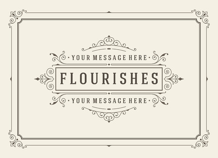 flower borders: Vintage ornament greeting card vector template. Retro wedding invitations, advertising or other design and place for text. Flourishes frame.