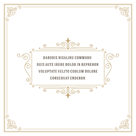 Vintage Ornament Quote Marks Box Frame Vector template design and place for text. Retro flourishes frame style. Vectores