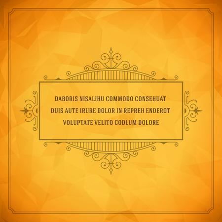 Vintage Ornament Quote Marks Box Frame Vector template design and place for text. Retro flourishes frame style. Çizim
