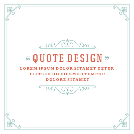 Vintage Ornament Quote Marks Box Frame Vector template design and place for text. Retro flourishes frame style. Vettoriali