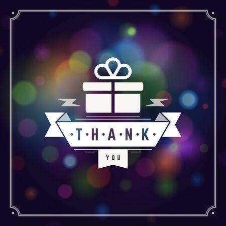 Gracias Tipografía Mensaje plantilla de diseño de tarjeta de felicitación de la vendimia. Bokeh fondo claro del vector. Foto de archivo - 49340285