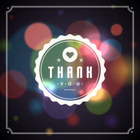 bokeh message: Thank You Typography Message Vintage Greeting Card design template. Bokeh light vector background. Illustration
