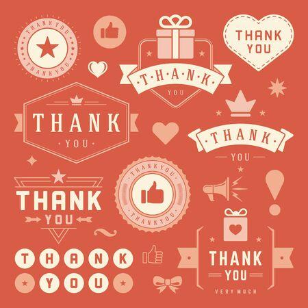 merci: Merci étiquettes et les éléments de conception Badges de typographie fixés. Coeurs, rubans, pouce vers le haut des icônes et des couronnes. Pour des cartes de voeux, autocollants, étiquettes, affiches et autres. Merci Cartes note, je vous remercie signe.