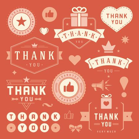 thank you cards: Thank You Labels and Badges typography design elements set. Hearts, Ribbons, Thumb up icons and Crowns. For Greetings cards,  stickers, tags, posters and other. Thanks Cards Note, Thank You Sign.
