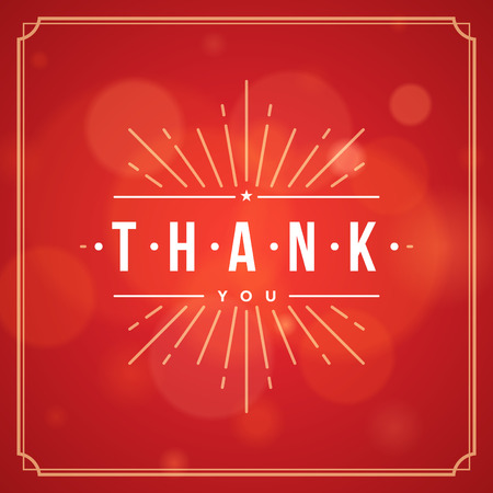 note: Thank You Typography Message Vintage Greeting Card design template. Bokeh light vector background. Thank You Card Note, Thank You Background.