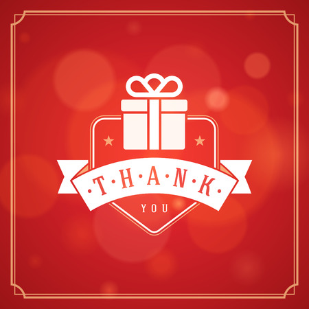 Thank You Typography Message Vintage Greeting Card design template. Bokeh light vector background. Thank You Card Note, Thank You Background.