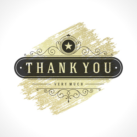 Thank You Typography Message Vintage Greeting Card design template. Gold Texture paint stain Retro vector background. Thank You Card Note, Thank You Background.  イラスト・ベクター素材