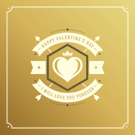 valentino: Happy Valentines Day greeting card or poster vector illustration. Retro typographic design and heart shape on golden style background. Illustration