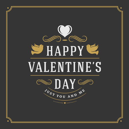 happy valentines day: Happy Valentines Day greeting card or poster vector illustration. Retro typographic design and heart shape golden style on black background.