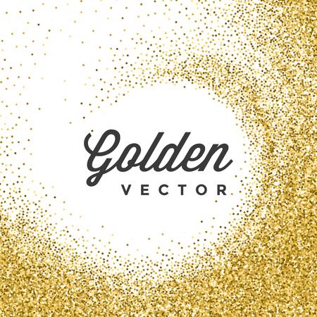 Gold třpytky jiskří Zářivě bílé konfety vektorové pozadí. Dobré pro Pozdrav Zlaté karty, luxusní pozvánka, reklama, poukaz, osvědčení, bannery, napsal Mark text. Zlatý texturu, Shiny Gold. Ilustrace