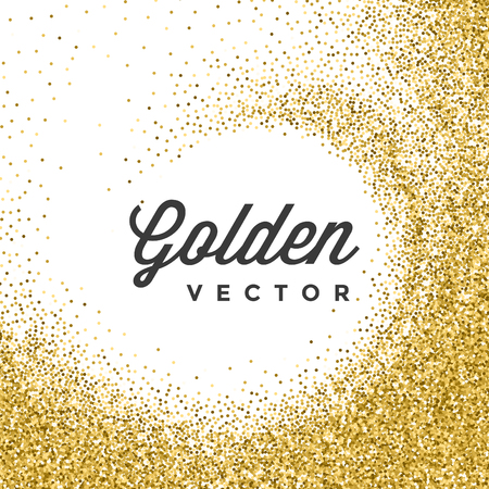 Złota Glitter Błyskotki Bright Confetti białe tło wektor. Dobry dla powitania Złote Karty, luksusowe zaproszenie, reklamy, Voucher, świadectwo, banery, Cytat zaznaczyć tekst. Złoty tekstury, błyszczące złoto.