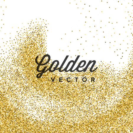 slick: Gold Glitter Sparkles Bright Confetti white vector background. Good for Greeting Gold Cards, Luxury Invitation, Advertising, Voucher, Certificate, Banners, Quote Mark Text. Golden Texture, Shiny Gold.