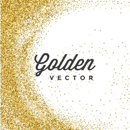 background: Or Glitter Sparkles Lumineux Confetti vecteur fond blanc. Conseillé pour Cartes de voeux d'or, Invitation de luxe, publicité, Bon, certificat, Bannières, Quote Mark texte. Texture or, or brillant. Illustration