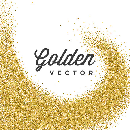 Gold Glitter Sparkles Bright Confetti white vector background. Good for Greeting Gold Cards, Luxury Invitation, Advertising, Voucher, Certificate, Banners, Quote Mark Text. Golden Texture, Shiny Gold.