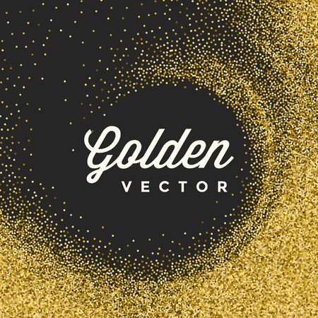 Gold Glitter Sparkles Bright Confetti Black Vector Background. Good for Greeting Gold Cards, Luxury Invitation, Advertising, Voucher, Certificate, Banners, Quote Mark Text. Golden Texture, Shiny Gold.