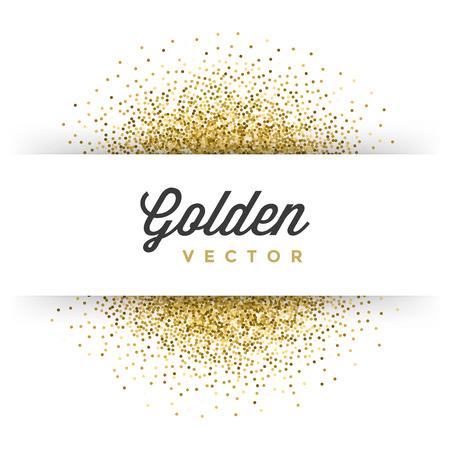 Livre blanc de scintillement d'or Sparkles brillant Confetti Étiquette Cadre vecteur de fond. Bon pour Cartes de voeux d'or, Invitation de luxe, publicité, Bon, certificat, Bannières, Golden Texture,