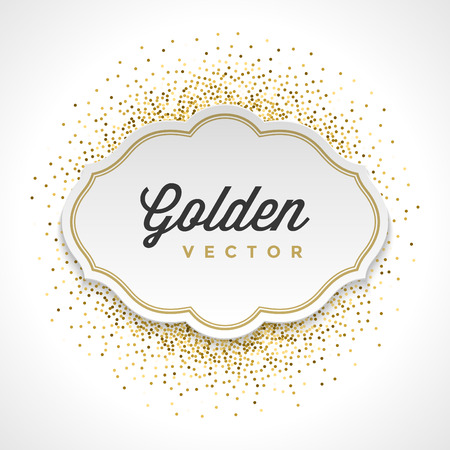 Gold Glitter Sparkles Bright Confetti White Paper Label Frame Vector Background. Good for Greeting Gold Cards, Luxury Invitation, Advertising, Voucher, Certificate, Banners, Golden Texture,