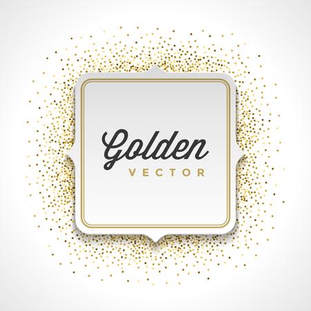 Gold Glitter Sparkles Bright Confetti White Paper Label Frame Vector Achtergrond. Goed voor de groet Gold Cards, Luxury Uitnodiging, Reclame, voucher, certificaat, Banners, Golden textuur,