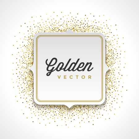 slick: Gold Glitter Sparkles Bright Confetti White Paper Label Frame Vector Background. Good for Greeting Gold Cards, Luxury Invitation, Advertising, Voucher, Certificate, Banners, Golden Texture,
