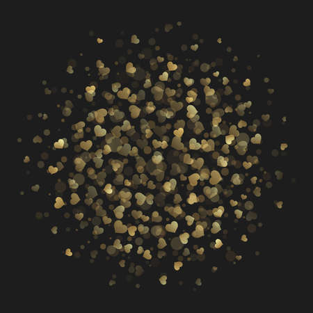 borde de flores: Corazón de oro del brillo de las luces del estilo de ilustración vectorial de fondo. Fondo feliz día de San Valentín, tarjeta de San Valentín, concepto de amor. Vectores