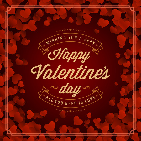Valentine's Day greeting card or poster vector illustration. Retro typographic design and Red Hearts Confetti Background. Happy Valentines Day background, Valentine Card, Love Concept. Vectores