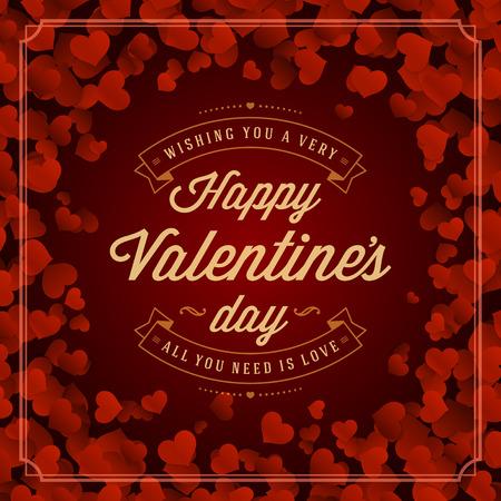 rahmen: Valentinstag-Grußkarte oder Poster Vektor-Illustration. Retro typografische Gestaltung und rote Herzen Confetti Hintergrund. Happy Valentines Day Hintergrund, Valentinstags-Karte, Liebe Konzept.