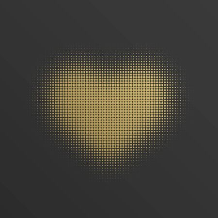 valentino: Halftone heart shape Golden Style background vector illustration. Happy Valentines Day background, Valentine Card, Love Concept.