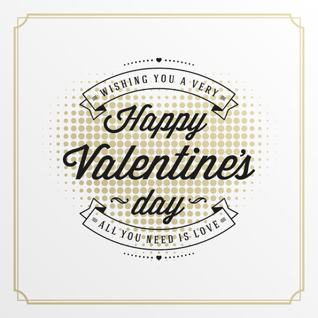 valentino: Valentines Day greeting card or poster vector illustration. Retro typographic design and halftone heart shape Golden Style background. Happy Valentines Day background, Valentine Card, Love Concept.