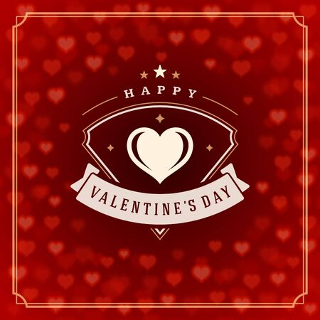 valentino: Valentines Day greeting card or poster vector illustration. Retro typographic design and Red Bokeh Lights Hearts Sparkles background. Happy Valentines Day background, Valentine Card, Love Concept.