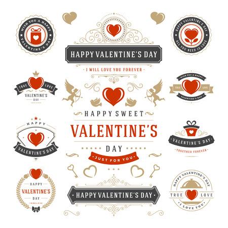 Den Etikety Valentýn a karty Set, srdeční ikony symboly, blahopřání, siluety, Retro Typografie Vektor konstrukční prvky. Oslavte den karty, Valentines Odznaky, Valentýn Vector etikety.