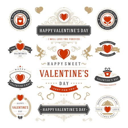 Valentine's Day Labels and Cards Set, Heart Icons Symbols, Greetings Cards, Silhouettes, Retro Typography Vector Design Elements. Valentines day cards, Valentines Badges, Valentines Day Vector Labels. Иллюстрация