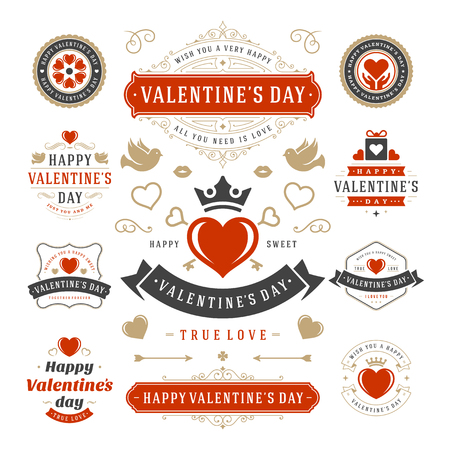 Valentine's Day Labels and Cards Set, Heart Icons Symbols, Greetings Cards, Silhouettes, Retro Typography Vector Design Elements. Valentines day cards, Valentines Badges, Valentines Day Vector Labels. Vettoriali