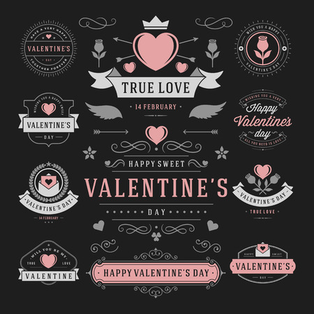 graphic background: Valentines Day Labels and Cards Set, Heart Icons Symbols, Greetings Cards, Silhouettes, Retro Typography Vector Design Elements. Valentines day cards, Valentines Badges, Valentines Day Vector Labels.
