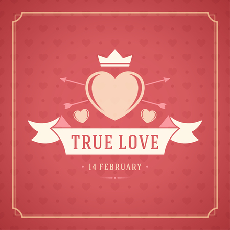 valentine card: Happy Valentines Day Greeting Card or Poster Vector illustration. Retro typography design and texture background. Happy Valentines Day background, Valentine Card, Love Heart. Illustration
